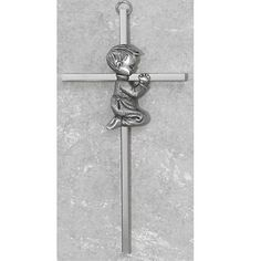 "Made in America! 6"" Silver Boys Wall Cross Great for First Communion, Baby Shower, Christening or Baptism. Hail Mary Gifts http://www.amazon.com/dp/B00PJ5XN7S/ref=cm_sw_r_pi_dp_fC5Bub0S4NZKV"
