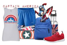 """""""Captain America (Captain America: The First Avenger)"""" by claucrasoda ❤ liked on Polyvore featuring Full Tilt, CellPowerCases, JanSport, NIKE, Puma, america, 4thofjuly, freedom and LibertyMarathon"""