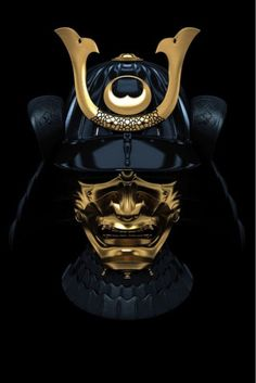 Funny pictures about A Gold Trimmed Black Samurai Mask. Oh, and cool pics about A Gold Trimmed Black Samurai Mask. Also, A Gold Trimmed Black Samurai Mask photos. Katana Samurai, Ronin Samurai, Samurai Helmet, Warrior Helmet, Samurai Mask Tattoo, Geisha, Kendo, Mascara Oni, Samourai Tattoo