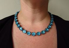 Aqua Anna Wintour Necklace Turquoise Georgian by damesalamode