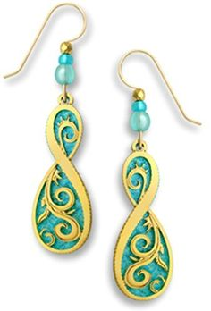 Adajio by Sienna Sky Aqua Blue with Gold-tone Filigree Overlay Earrings Made in USA 7536 by Adajio -- Awesome products selected by Anna Churchill