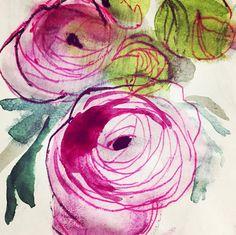 ORGANIC - RENONCULES #flowers #watercolor Illustrations, Sketches, Organic, Drawings, Painting, Art, Ranunculus, Watercolor Painting, Art Background