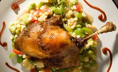 Dixie Duck Confit with Succotash & Smoked Tomato Ketchup Recipe Duck Recipes, Bacon Recipes, Summer Duck Recipe, Tomato Ketchup Recipe, Succotash Recipe, Recipe D, Duck Confit, Angus Beef, Easy Meals