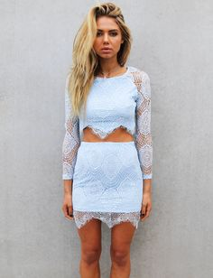 light blue lace. I like the fact that it's cropped but not really cropped.