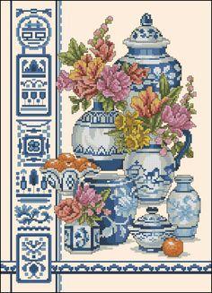 Blue oriental motif- free cross-stitch pattern