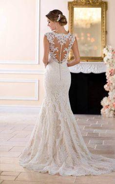 6418 Vintage Lace Trumpet Wedding Dress by Stella York