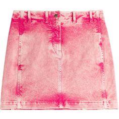 Roberto Cavalli Acid Washed Jean Skirt ($390) ❤ liked on Polyvore featuring skirts, mini skirts, bottoms, roberto cavalli, faldas, magenta, pink mini skirt, stretchy mini skirts, acid wash skirt and acid wash denim skirt