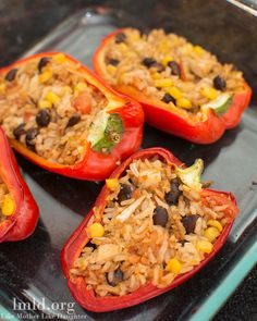 Mexican Stuffed Peppers – These peppers are stuffed full of tomatoes, corn, black beans and our favorite ingredient – rice!