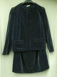 """100% cotton velvet, fully lined - nylon lining. Skirt has 7.5"""" back zip, button. Skirt 27"""" long. Jacket back measurement, neckline to hem, 22.5"""".   eBay!"""