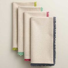 Soft, creamy chambray and a bright crochet trim make our cheerful napkins easy to layer, mix and match, or become everyday favorites. >> Spring Home Decor Cloth Napkins, Napkins Set, Diy Casa, Printed Napkins, Art Drawings For Kids, Spring Home Decor, Diy Home Crafts, Crochet Trim, Yarn Colors