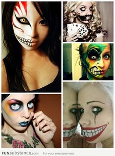 Scary Halloween makeup, could probably do just this for my hollowed costume