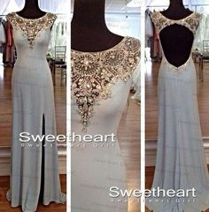Show your best to all people even in the evening and then get  Custom Made Sheer Beaded Scoop Neckline Side Split Evening Pageant Gowns Sheath Chiffon Sweep Train Round Backless Fashion Party Prom Dress in bride_wardrobe and choose wholesale gowns for womens,ladies evening wear and and dresses on DHgate.com.