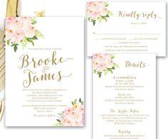 Erröten Rosa Gold druckbare Blumen Hochzeit von SimplyFetchingPaper