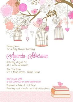 Baby Shower Invitation  Bird & Cages for Girl by BellePrintables, $12.50