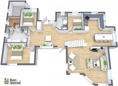 YES OR NO -- Sauna in your beach house? Brand named furniture & decor available in RoomSketcher: http://www.roomsketcher.com/products/overview/ 3D floor plan for family beach house with hardwood flooring, sauna & stairs to second floor designed in RoomSketcher Business Edition by PRIVAT megleren