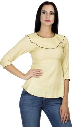 PrettyPataka Party, Casual 3/4 Sleeve Solid Women's Beige Top