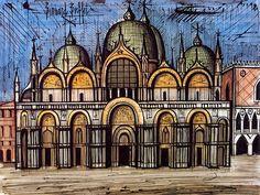 Bernard Buffet - VUES DE VENISE : La Basilique Saint-Marc - 1986 mixed media on paper - 50 x 65 cm