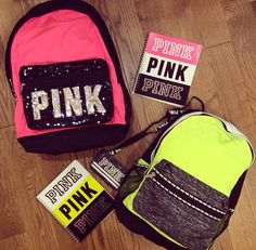 I have the pink &black one Stylish Backpacks, Vs Pink, Pink Black, Girly Things, Girly Stuff, Victoria's Secret Pink, Pretty In Pink, Purses And Bags, My Style