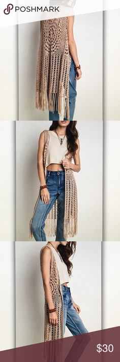 Tan crochet fringe sleeveless cardigan Beautiful and boho! Approx. 37 in. Length. Polyester blend. Fits true to standard size. S- 2/4 M- 6/8 L- 10/12 Tops Blouses