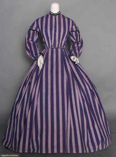 "PURPLE STRIPE DAY DRESS, 1860s 1-piece, light weight wool woven in alternating dark & light purple stripes w/ orange pin stripes, jet F buttons & trims, cap sleeve w/ jet tassels, brown cotton bodice lining, B 35"", W 27.5"", L 54""-59"""