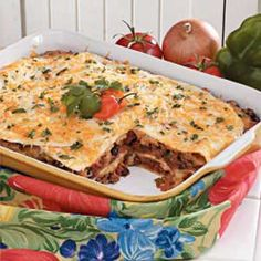 TACO LASAGNA. The whole family enjoys this. Easy to make and tastes great as leftovers.