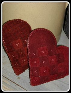 Two Woven Wool Heart Cupboard Pillows/Pincushion, Valentine's Day.