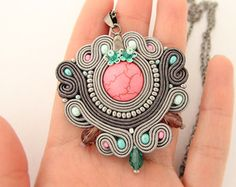 Turquoise boho pendant beaded turquoise necklace soutache by pUkke Soutache Pendant, Soutache Necklace, Polymer Clay Charms, Polymer Clay Jewelry, Imitation Jewelry, Turquoise Stone, Handmade Necklaces, Boho Jewelry, Antique Gold