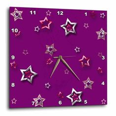 3dRose Silver and Gold Color Stars on Plum Purple, Wall Clock, 13 by 13-inch
