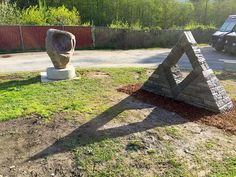 Cool shadow! This cool pyramid sculpture is made of urbanite/ recycled concrete and stone!