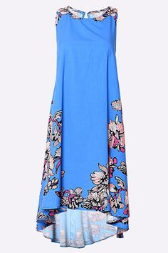Blue Sleeveless Random Floral Printed Dress