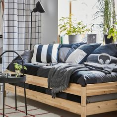 UTÅKER Stackable bed with 2 mattresses, pine, Husvika firm, Single - IKEA Cama Ikea, Mattress Stains, Foam Mattress, Mattress Couch, Spare Bed, Spare Room, Moving Furniture, Space Furniture, Ikea Furniture