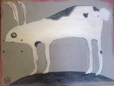 hare painting on wood