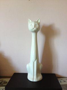 Vintage ART DECO Cat white ceramic tall cat by AnnmarieFamilyTree ETSY BAKER'S RACK
