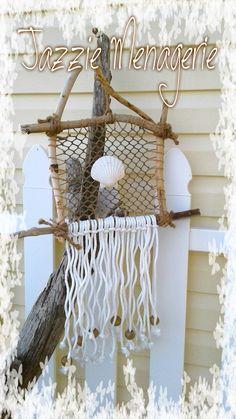 Wall hanging, dreamcatcher, beach decor, shells, netting, driftwood, jazzie menagerie  https://flic.kr/ps/2khv68 | Jazzie Menagerie's photostream
