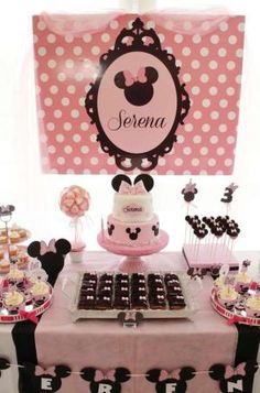 Amazing dessert table at a Minnie Mouse birthday party! See more party planning ideas at