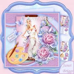 Artist's Canvas Painted Lady 7.5 Decoupage Kit - £1.20 : Instant Card Making Downloads