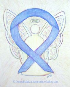 Periwinkle Cancer Awareness Ribbon Angel Art Painting is for Esophageal Cancer, Gastric Cancer, Small Intestine Cancer, and Stomach Cancer!