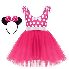 99c31e105176 IBTOM CASTLE Toddlers Girls  Polka Dots Christmas Birthday Princess Leotard Costume  Tutu Dress up Mouse Ears Headband Blush+Navy Blue 18-24 Months