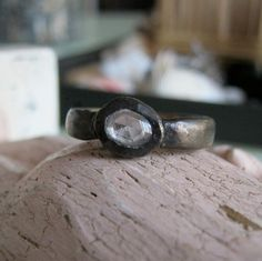 I did it! I blackened a white gold ring I cast and set a rose-cut sapphire in it by PhBeads #customjewelery #handmadejewelry # rusticjewelry #ancientjewelry #weddingring #wedding #phbeads#goldring#recycledgold#blackgold# blackenedgold