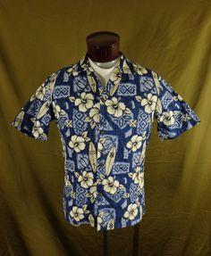134168f7fb Vintage Winnie Fashion Blue Hibiscus Tribal Print Hawaiian Shirt – M - VLV