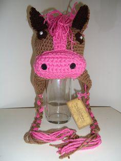 Crochet Horse Pony Beanie Earflap Hat by KiddieKapsbyDebra on Etsy, $25.00