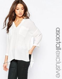 ASOS TALL Casual Crinkle V-Neck Blouse – Ivory