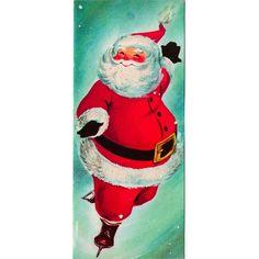 Vintage Greeting Card Christmas Santa Claus Ice Skating (O210)
