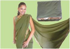 Olive Green Georgette Saree. Code: MC003  Olive Green Georgette saree with green and bronze border. The tiny bronze beads, hand-stitched all over the saree, add a simple yet exquisite beauty to it. The blouse is metallic bronze.  Drop a comment below to place an order.