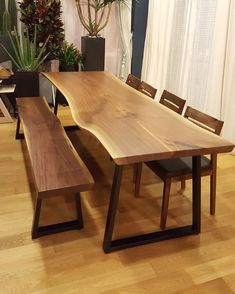 No photo description available. Wood Table Design, Dining Table Design, Gallery Cafe, Scandinavian Interior, Metal Furniture, Living Room Decor, New Homes, House, Home Decor