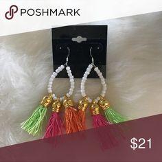 NWT dangle hoop tassel fringe earrings Pink green and orange fringe with white beaded hoop and silver fish hook new never worn lightweight and FUN katdjewelry Jewelry Earrings