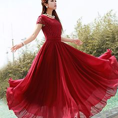 Women's Solid Color Maxi Chiffon Dress with Lace Top – USD $ 22.99