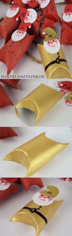 Basteln mit Kindern – Adventskalender selber basteln mit Klopapierrollen Quickly tinker little Santa Clauses for Christmas and simply Christmas Wrapping, Christmas Art, Christmas Decorations, Kids Crafts, Crafts To Do, Quick Crafts, Diy Christmas Activities, Holiday Crafts, Advent Calenders