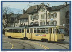 TN Compagnie Des Transports De Neuchâtel Et Environs - Automotrice électr. Be 4/6 N° 594 - Boudry, 6.3.1984 - Cinzano - Tramways  Switzerland  #railway #postcard #train #bahn #ferrovia #ansichtskarten #cartoline #cartepostale #locomotive #lokomotive