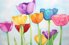 tulips in watercolor | Afternoon Artist